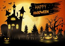 Scary church with pumpkins on the full moon stock illustration