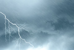 Scary clouds. With lightning and rain Royalty Free Stock Image