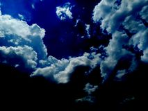 Scary clouds on black and white cloud. royalty free stock image