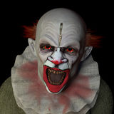 Scary Clown 1. Scary clown glaring at you with red eyes Royalty Free Stock Photography
