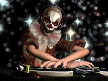 Scary Clown DJ. A  is in the House and mixing up some Halloween horror.  Turntables with vinyl albums Stock Photography