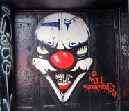 Scary clown graffiti. In Hosier lane in Melbourne, Australia Royalty Free Stock Images