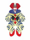 Scary Clown for Halloween. Clown in the modern meaning of the term - circus, variety or theatrical artist, using the techniques of grotesque and buffoonery stock illustration
