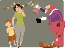 Scary clown. Horrible clown with a bottle of liqueur in his pocket and a dead bunny in a magic hat showing a trick to a scared mother and a boy, vector cartoon Stock Image