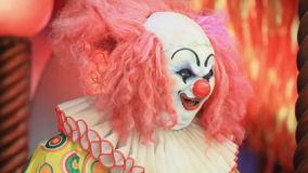Scary clown robot smiling. stock video footage