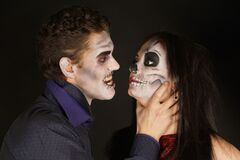 Scary couple in Halloween makeup