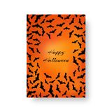 Funny greeting card with bats for Halloween. Scary cover of the catalog with bats for festive decoration for Halloween on the orange backdrop. Vector Royalty Free Stock Photos