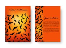 Funny brochure with bats for Halloween. Scary cover design of brochure with bats for festive Halloween design on the orange backdrop. Vector illustration Royalty Free Stock Photo