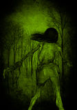 Scary Creature Woman In The Forest Royalty Free Stock Image