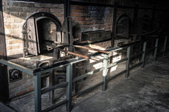 Scary crematorium furnace in a fascist camp Majdanek in Poland Royalty Free Stock Photo