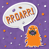 Scary, but cute fluffy halloween monster hungry for sweets with toothy smile. Stock Photos