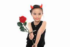 Scary cute little asian girl in black Halloween Stock Photography