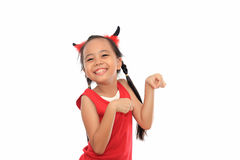 Scary cute little girl in red Halloween  Royalty Free Stock Images