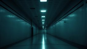 Scary dark corridor, tunnel. Mystery place with broken lamps. Empty, depth horror concept stock footage