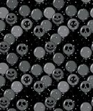 Funny Hand Drawn Halloween Vector Pattern. Scary Dark Grey Balloons with Ghost Faces. vector illustration