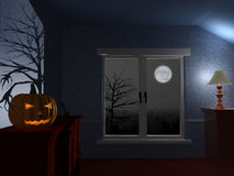 Scary dark room on Halloween Stock Photo