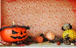 Scary decorated pumpkins for Halloween and other autumn decor stock photography