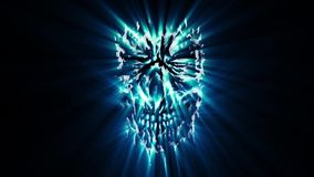 Scary demon blue head animation. Genre of horror. Spooky monster face stock video footage