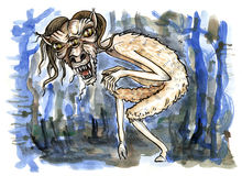 Scary demon from Slavic mythology. Hand drawn illustration. Watercolor painting Royalty Free Stock Photo