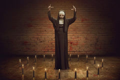 Scary Devil Nun. For halloween concept image royalty free stock images
