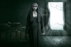 Scary Devil Nun. For halloween concept image royalty free stock image