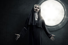 Scary Devil Nun. For halloween concept image Stock Image