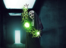 Scary Devil Nun. For halloween concept image. She is casting satanic spell Royalty Free Stock Photos