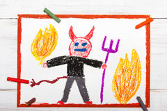 Scary devil with pitchfork. Colorful drawing: scary devil with pitchfork Stock Photos