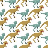 Scary dinosaurs vector tyrannosaurus seamless pattern background t-rex danger creature force wild jurassic predator. Cute and scary dinosaurs vector collection Royalty Free Stock Photos