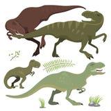 Scary dinosaurs vector tyrannosaurus t-rex danger creature force wild jurassic predator prehistoric extinct illustration Stock Photography