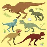 Scary dinosaurs vector tyrannosaurus t-rex danger creature force wild jurassic predator prehistoric extinct illustration. Cute and scary dinosaurs vector Stock Photography