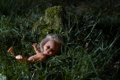 Scary doll. Child abuse. Crime scene Royalty Free Stock Images