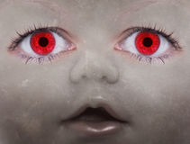 Scary doll face. With human looking eyes Royalty Free Stock Photo