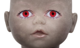 Scary doll face. With human looking eyes Royalty Free Stock Images