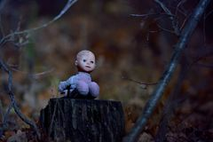 Scary doll on a stump in the night forest Royalty Free Stock Photo
