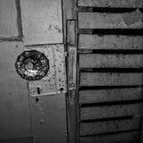 Scary door 2. Scary door slat wall vintage Stock Photo