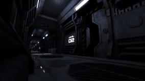 Scary empty sci fi spaceship corridor with evacuation alarm.