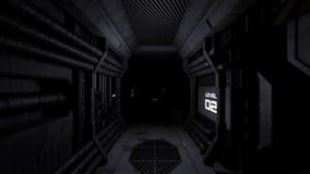 Scary empty spaceship alien corridor animation. 3d rendering