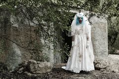 Scary evil clown in a bride dress Royalty Free Stock Photo