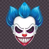 Scary evil clown mask on the transparent background. Vector Halloween costume element stock illustration