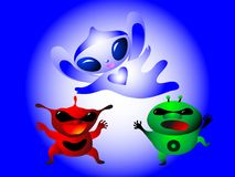 Scary evil monsters viruses and good monster cure. On a blue background vector illustration