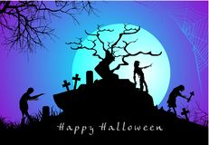 Halloween scary evil zombies with spider web background. Scary evil zombies with spider web hanging at night scene for halloween stock illustration