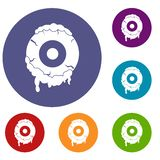 Scary eyeball icons set Royalty Free Stock Images