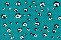 Scary eyes background. Pop art retro vector illustration royalty free illustration