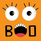 Scary face emotions boo. Happy Halloween card. Flat design style Vector illustration Stock Image