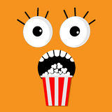 Scary face emotions boo Popcorn. Cinema icon in flat design style. Movie background Royalty Free Stock Photos