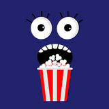 Scary face emotions in the dark Popcorn. Cinema icon flat design style. Movie background Stock Image
