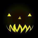 Scary face of Halloween pumpkin in dark background Stock Photo