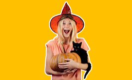 Scary face Housekeeper. Advertisement Halloween concept with isolated stickers. Housewife Witch with Pumpkin. Scary face. Halloween wide banner. Halloween stock photo