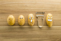 Potatoes with cartoon face Royalty Free Stock Photography
